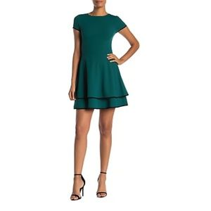 Love...Ady Contrast Trim Sleeve Fit&Flare Dress A6